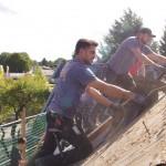 Abbau des alten Daches / ergetische Dachsanierung.